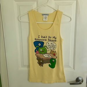 Yellow ugly dolls tank top size large